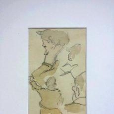 Arte: INTERESANTES ESTUDIOS ORIGINALES DE RETRATOS MASCULINOS EN ACUARELA, GRAN CALIDAD, ART DECO. Lote 42873256