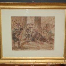 Arte: CÍRCULO DE EUGENIO LUCAS VELÁZQUEZ (MADRID, 1817 - 1870) ACUARELA SOBRE PAPEL. ESCENA MITOLÓGICA. Lote 43274229