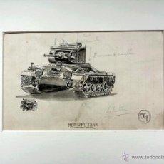 Arte: EXTRAORDINARIA ACUARELA ORIGINAL DE UN TANQUE DE LA SEGUNDA GUERRA MUNDIAL, FIRMADO DG, CALIDAD. Lote 43304950