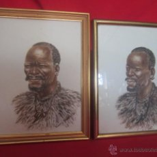 Arte: AFRICANOS. PAREJA DE ACUARELAS REALIZADAS EN EL AÑO 1960 POR M. MASAKO.. Lote 27252696