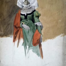 Arte: MARAVILLOSA OBRA ORIGINAL, FIRMADA Y FECHADA 1897, ART NOVEAU, 51 X 42 CM. Lote 43345062