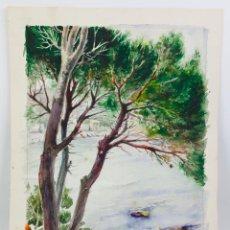Arte: PERE BENET DOMINGO (TORTOSA 1914-1969) LLAFRANCH, COSTA BRAVA, ACUARELA 42X32 CM.. Lote 43468852