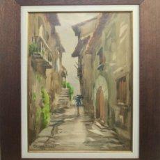 Arte: A1-024 - MARIANO BRUNET COLL (1918-1999) - CALLE INTERIOR - ACUARELA - 1962. Lote 43506657
