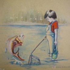 Arte: BELLA ACUARELA INFANTIL - FIRMADA Y DATADA. Lote 43584261