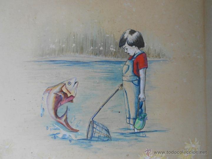 Arte: BELLA ACUARELA INFANTIL - FIRMADA Y DATADA - Foto 2 - 43584261
