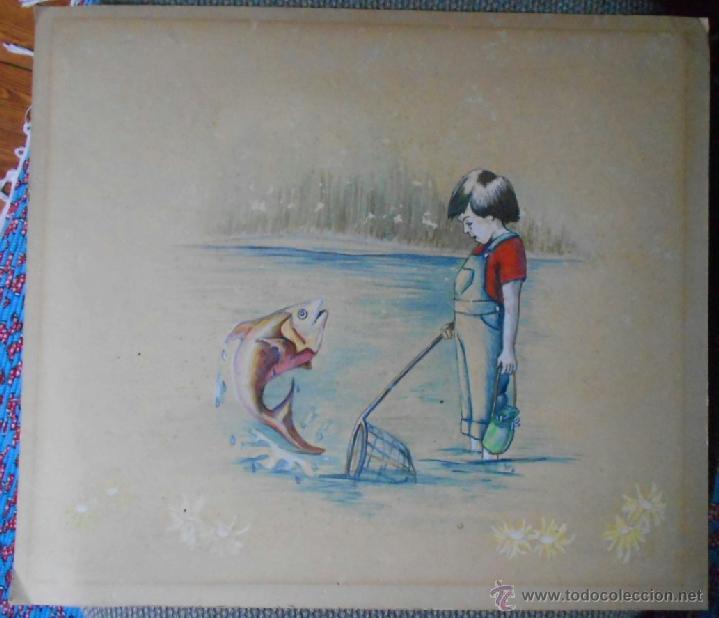 Arte: BELLA ACUARELA INFANTIL - FIRMADA Y DATADA - Foto 3 - 43584261