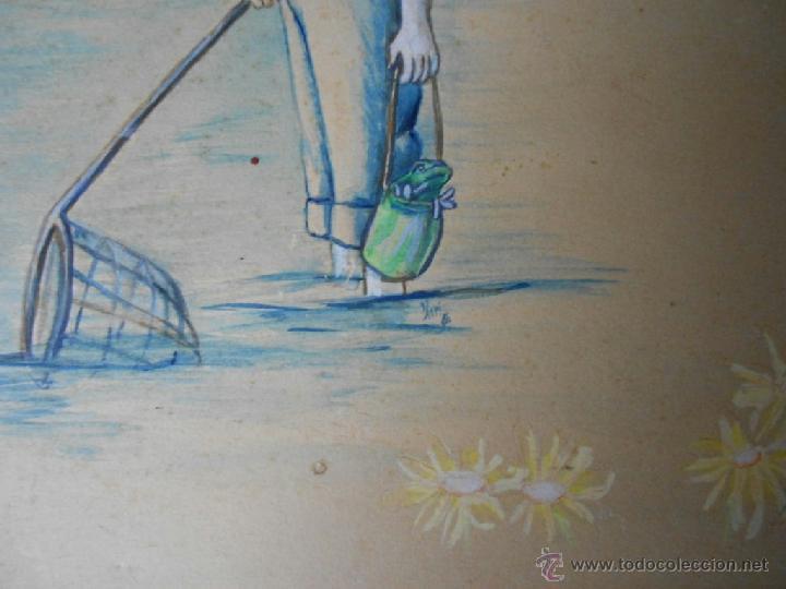 Arte: BELLA ACUARELA INFANTIL - FIRMADA Y DATADA - Foto 4 - 43584261