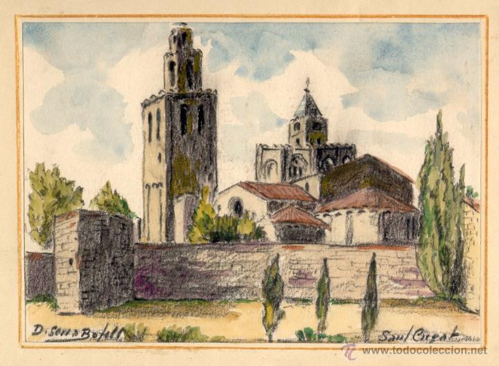 ACUARELA DE DOMINGO SERRA BOFILL —SANT CUGAT—PINTOR DE SABADELL (Arte - Acuarelas - Contemporáneas siglo XX)