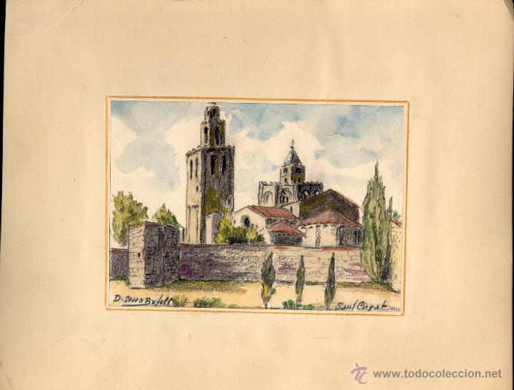 Arte: Acuarela de Domingo Serra Bofill —Sant Cugat—Pintor de Sabadell - Foto 2 - 43596705