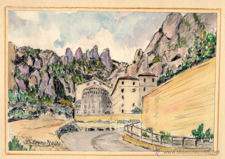 DOMINGO SERRA BOFILL —MONTSERRAT— PINTOR DE SABADELL (Arte - Acuarelas - Contemporáneas siglo XX)