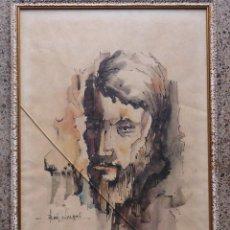 Arte: ACUARELA DE ROSTRO.FIRMADO JOSE ANGEL.. Lote 43811420