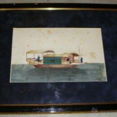 Arte: ANTIGUA ACUARELA CHINA SOBRE PAPEL DE ARROZ. S.XIX. PINTADO A MANO.. Lote 43869145