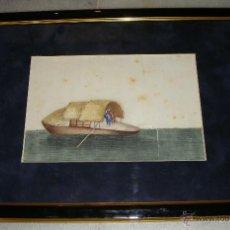 Arte: ANTIGUA ACUARELA CHINA SOBRE PAPEL DE ARROZ. S.XIX. PINTADO A MANO.. Lote 43869308