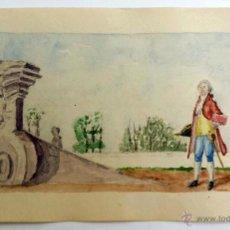 Arte: MARAVILLOSA ACUARELA ORIGINAL DEL SIGLO XIX, FIRMADA, GRAN DETALLISMO Y MINUCIOSIDAD. Lote 44081489