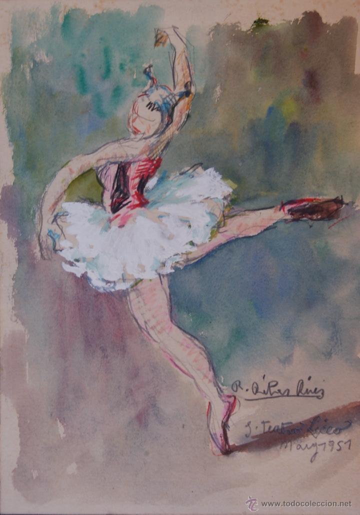 Ramon Ribas Rius (Barcelona,1903-1983). Bailarina. Gouache sobre papel. 20 cm x 15 cm. segunda mano