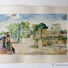 Arte: MARAVILLOSO RETRATO ORIGINAL EN ACUARELA DE FINALES DEL XIX DE MICHELANGELO BUONARROTI. Lote 44169523