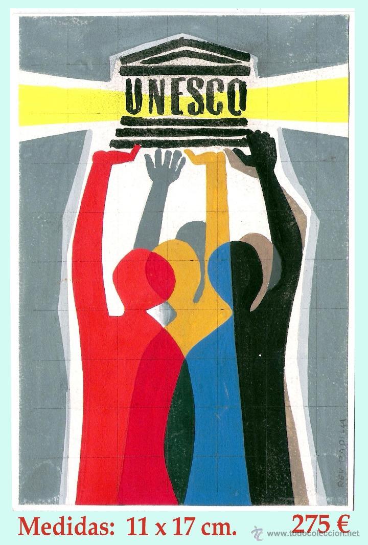 REY PADILLA, SEBASTIAN, BOCETO ORIGINAL, ACUARELA S/ CARTULINA - PUBLICIDAD DE U.N.E.S.C.O. FIRMADO. (Arte - Acuarelas - Contemporáneas siglo XX)