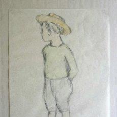 Arte: MARAVILLOSO RETRATO ORIGINAL DE UN NIÑO, CIRCA 1890-1900, FIRMA ILEGIBLE. Lote 44581584