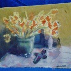 Arte: PINTURA ACUARELA - CENTRO CON FLORES - FIRMADO MT (?) - SIN MAS DATOS - VER FOTOS - AÑO 1952. Lote 44699916