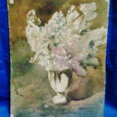 Arte: PINTURA ACUARELA - JARRON CON FLORES - FIRMADO MT (?) - SIN MAS DATOS - VER FOTOS - AÑO 1952. Lote 44700020