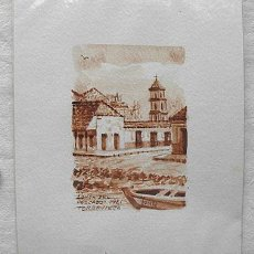 Arte: MINIATURA ACUARELA. LONJA DEL PESCADO EN 1921 TORREVIEJA. FIRMADA JUNQUERA. Lote 44737670
