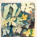 Arte: MARAVILLOSAS FLORES EN PASTEL SOBRE CARTULINA, FECHADAS 1941. Lote 45195437