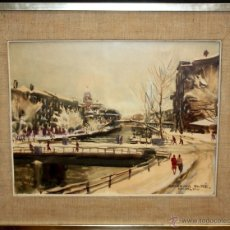 Arte: CEFERINO OLIVÉ CABRÉ (REUS, 1907-1995) ACUARELA DEL AÑO MCMLXIII (1963) PUENTE DE SAN ANTON (BILBAO). Lote 169947304
