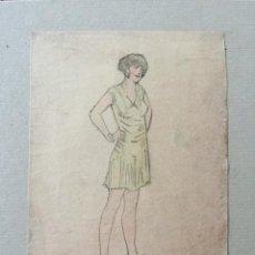 Kunst - Maravilloso retrato original de una joven, art deco, años 20 - 45347755