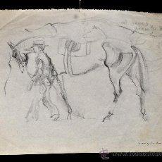 Arte: PERE YNGLADA SALLENT (SANTIAGO DE CUBA, 1881 - BARCELONA, 1958) DIBUJO A LÁPIZ. HOMBRE CON CABALLO. Lote 58370113