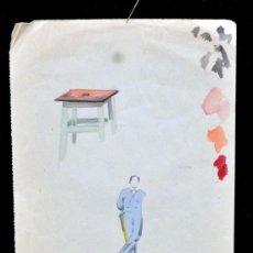 Arte: PERE YNGLADA SALLENT (SANTIAGO DE CUBA, 1881 - BARCELONA, 1958) ACUARELA. HOMBRE Y TAMBURETE. Lote 45408475