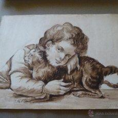 Arte: ACUARELA ORIGINAL PINTADA SOBRE PAPEL, ESTA SIN FIRMAR PERO FECHADA EN 1886, 33 X 25 CM.. Lote 45427311