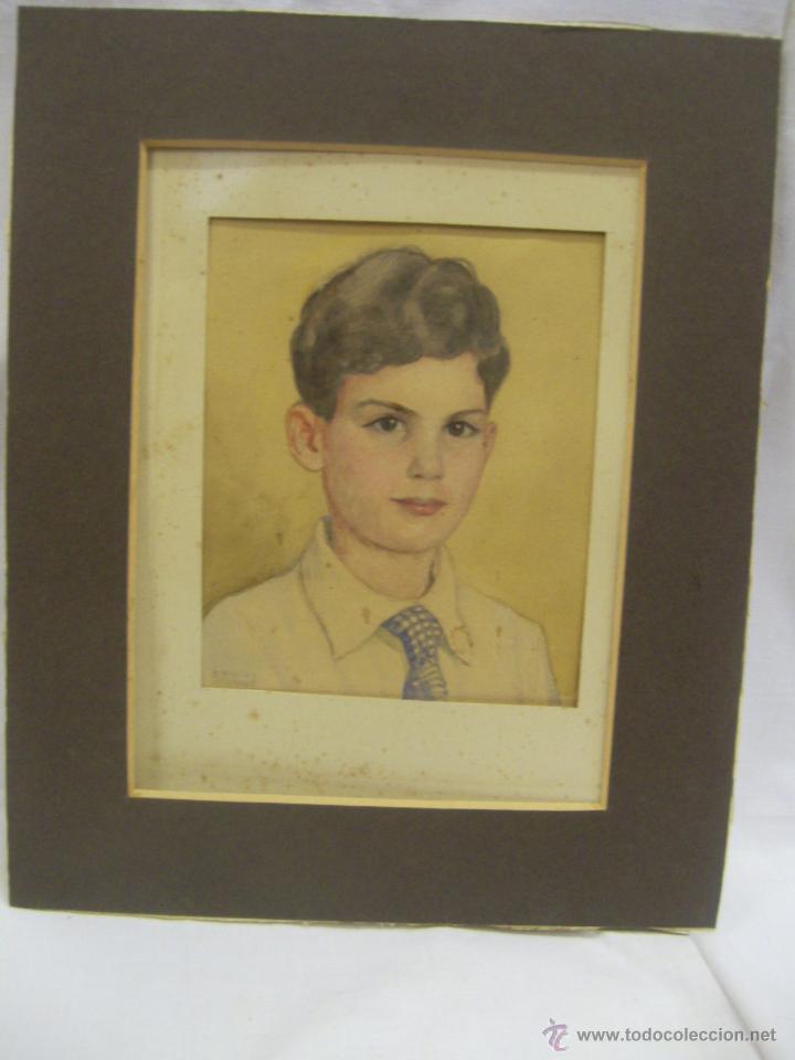 Arte: Retrato de Niño. Acuarela. Mallorca. Firmado Erwin Hubert. - Foto 2 - 45450410