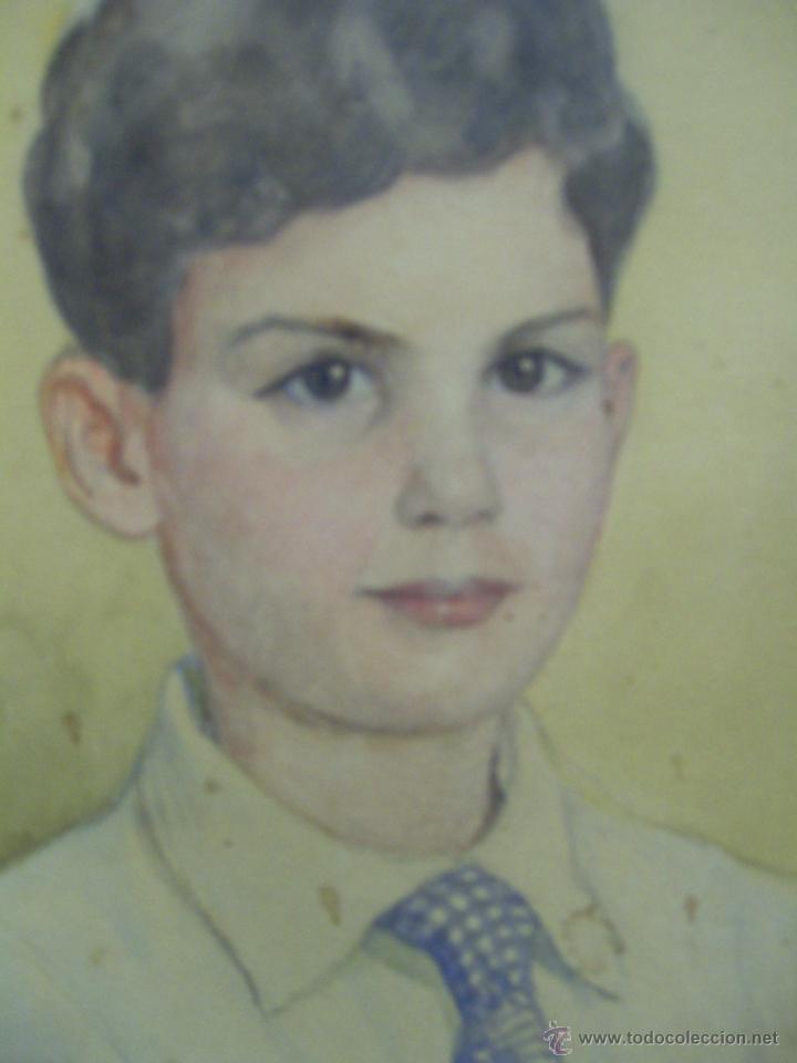Arte: Retrato de Niño. Acuarela. Mallorca. Firmado Erwin Hubert. - Foto 3 - 45450410