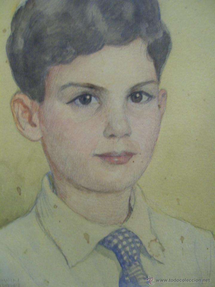 Arte: Retrato de Niño. Acuarela. Mallorca. Firmado Erwin Hubert. - Foto 4 - 45450410