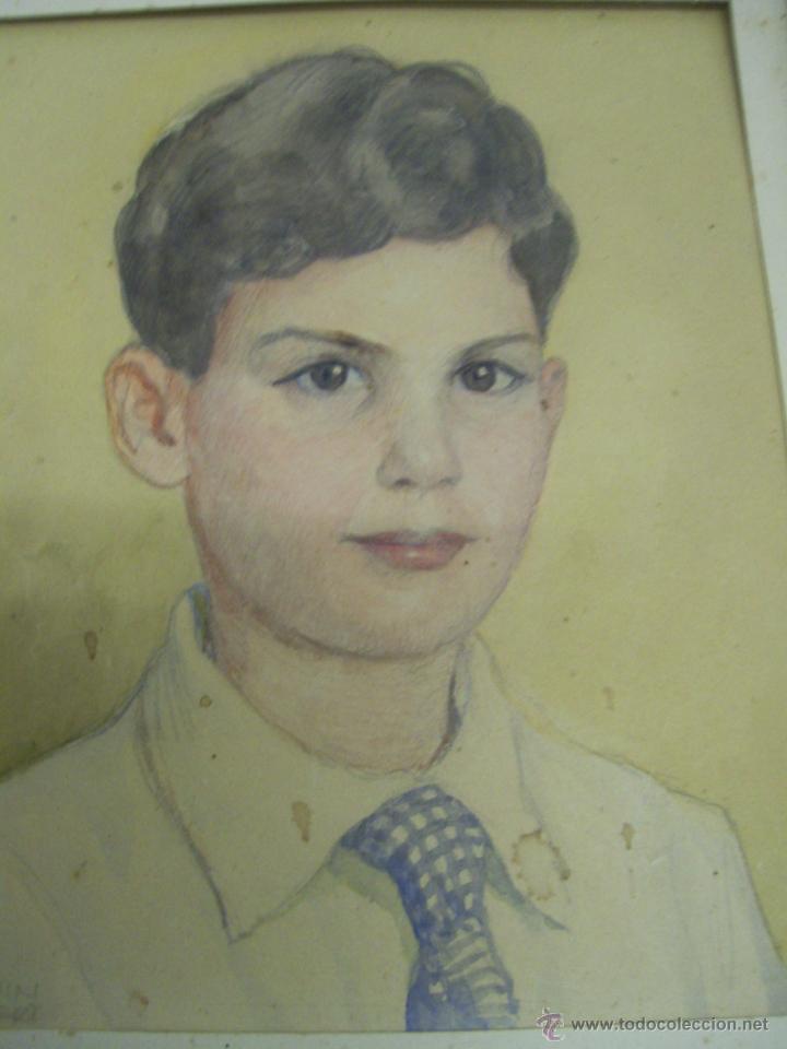 Arte: Retrato de Niño. Acuarela. Mallorca. Firmado Erwin Hubert. - Foto 10 - 45450410