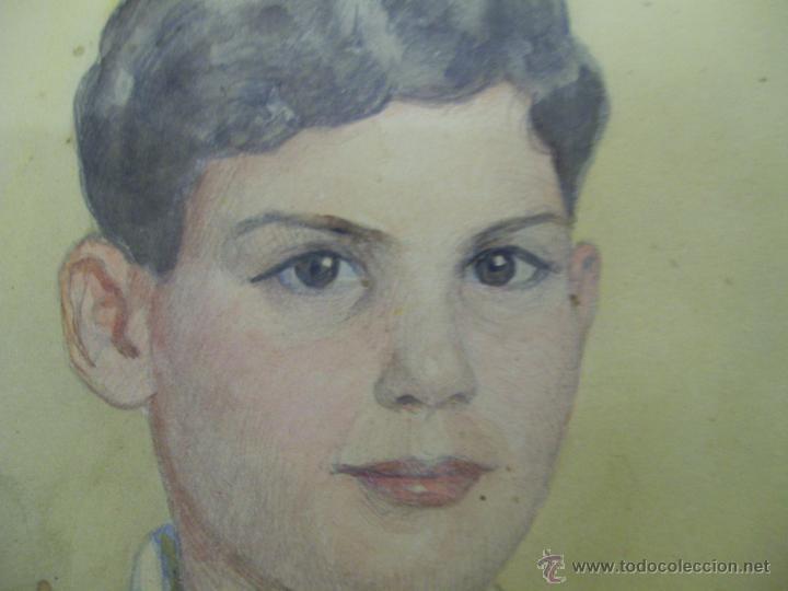 Arte: Retrato de Niño. Acuarela. Mallorca. Firmado Erwin Hubert. - Foto 11 - 45450410