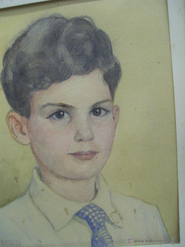 Arte: Retrato de Niño. Acuarela. Mallorca. Firmado Erwin Hubert. - Foto 12 - 45450410