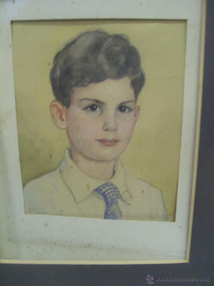 Arte: Retrato de Niño. Acuarela. Mallorca. Firmado Erwin Hubert. - Foto 14 - 45450410