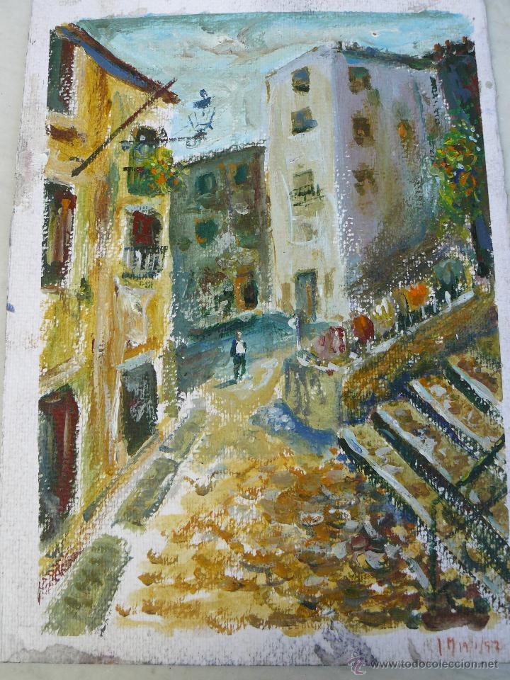 ACUARELA/CERA - FIRMA ILEGIBLE - 1957 - PAISAJE URBANO CON PERSONAJE (Arte - Acuarelas - Contemporáneas siglo XX)