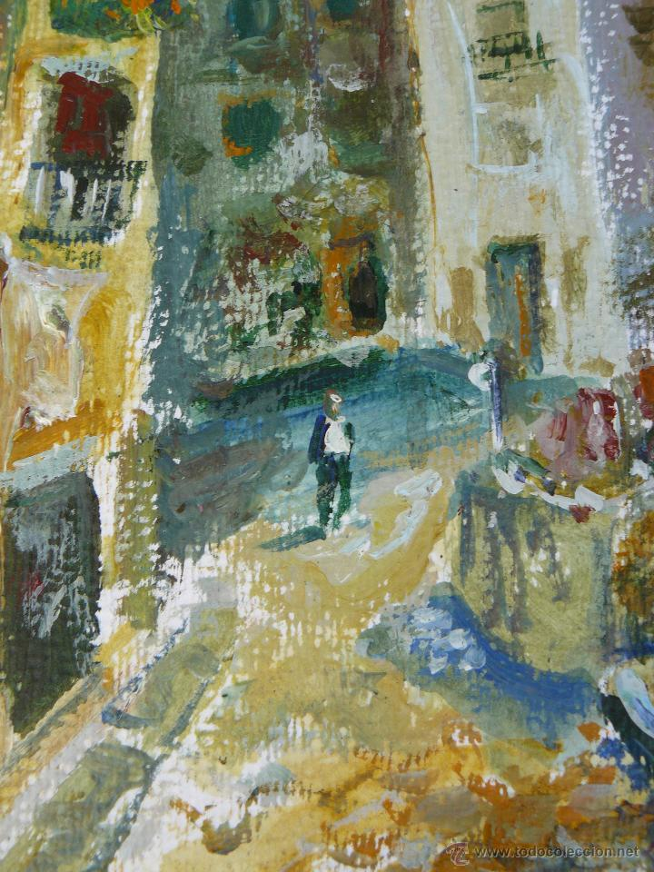 Arte: ACUARELA/CERA - FIRMA ILEGIBLE - 1957 - PAISAJE URBANO CON PERSONAJE - Foto 2 - 45499646