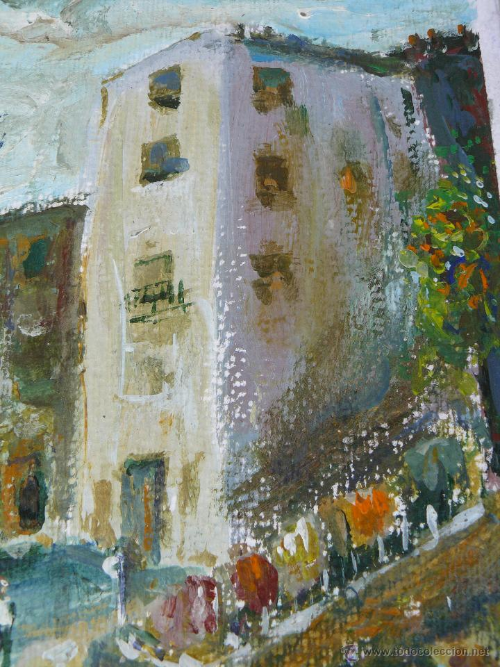 Arte: ACUARELA/CERA - FIRMA ILEGIBLE - 1957 - PAISAJE URBANO CON PERSONAJE - Foto 3 - 45499646
