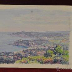 Arte: VISTA DEL FARO DE SAN SEBASTIÁ, CALELLA DE PALAFRUGELL Y TAMARIU. ACUARELA CARTON. Lote 45583180