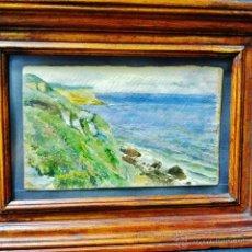 Arte: ALBERTO MACÍAS PICAVEA (VALLADOLID 1865-1947). LA COSTA DE LOS LOCOS, SUANCES. ACUARELA SOBRE PAPEL.. Lote 45788272