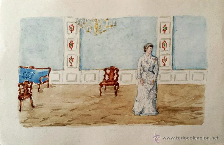 ESTUPENDA ACUARELA ORIGINAL DE FINALES DEL SIGLO XIX, MUY BUEN DETALLE Y DETALLISMO (Arte - Acuarelas - Modernas siglo XIX)