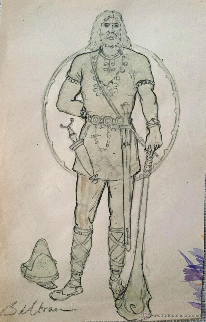 RETRATO EN ACUARELA ORIGINAL DE UN VIKINGO, FIRMADO BELTRAN (Arte - Acuarelas - Contemporáneas siglo XX)