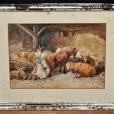 Arte: ESCUELA INGLESA DE FINALES DEL SIGLO XIX. ACUARELA SOBRE PAPEL. CAMPESINA EN EL ESTABLO. Lote 46221511