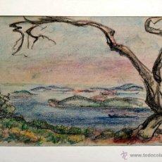 Arte: EXQUISITO PASTEL ORIGINAL, BONITO TRAZO IMPRESIONISTA, COSTA MEDITERRANEA, FIRMADO, 70 X 50 CM. Lote 46275258