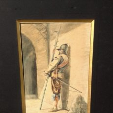 Arte: JOSÉ JIMENEZ ARANDA (1837-1903), PINTOR ESPAÑOL, ACUARELA. GUARDIA. Lote 46313500