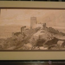Arte: DIBUJO ACUARELADO DE PAISAJE CON CASTILLO Y FIGURAS, ATRIBUIDO A LLUIS RIGALT, . Lote 46353932