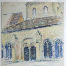 Arte: BONITO PASTEL ORIGINAL DE UNA IGLESIA GÓTICA, FINALES DEL SIGLO XIX-PPIOS DEL XX. Lote 46480323